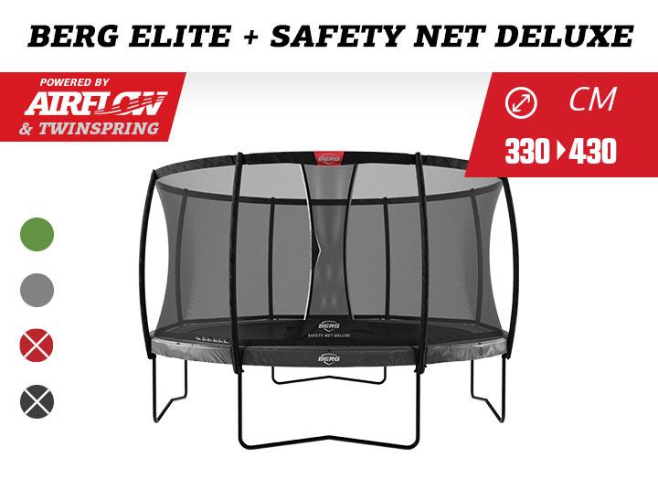 BERG Elite InGround trampoline + Safetynet Deluxe 330-380-430
