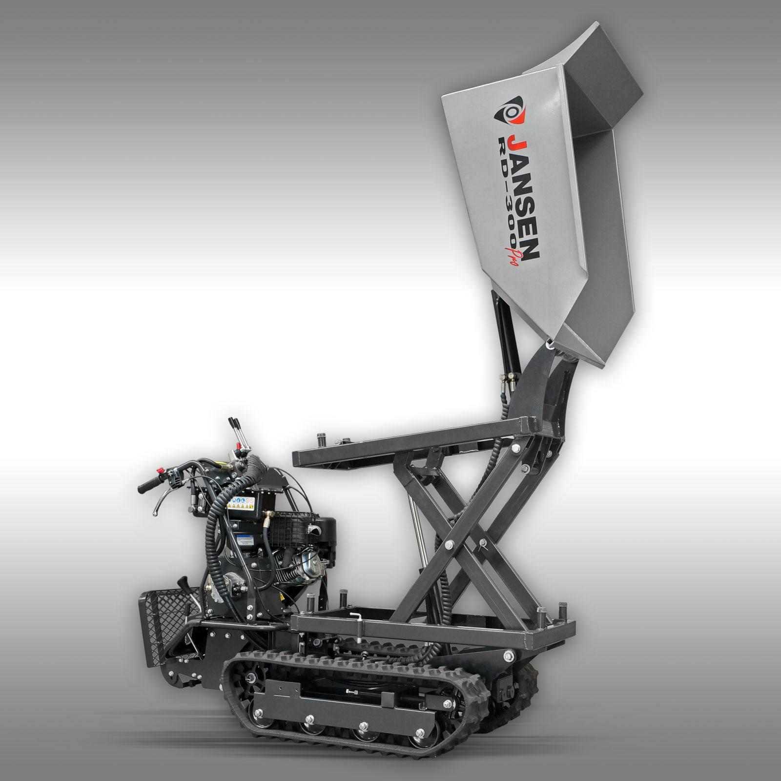 Jansen Rupsdumper RD-300PRO, hydraulische kiepbak, 9PK benzinemotor  hoogkiepsysteem