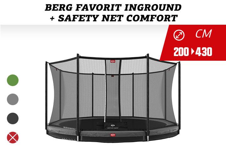 BERG Trampoline InGround Favorit + Safetynet Comfort 200-270-330-380-430