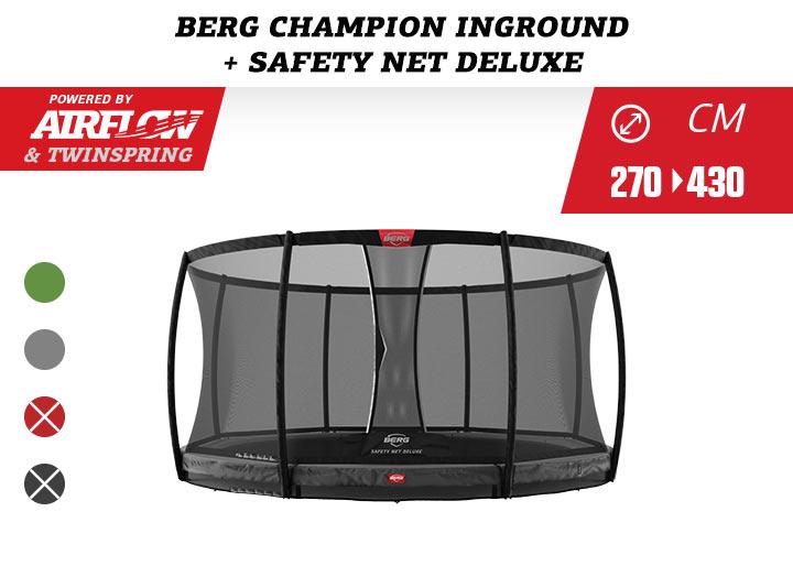 BERG Trampoline InGround Champion + Safetynet Comfort / Deluxe 270-330-380-430