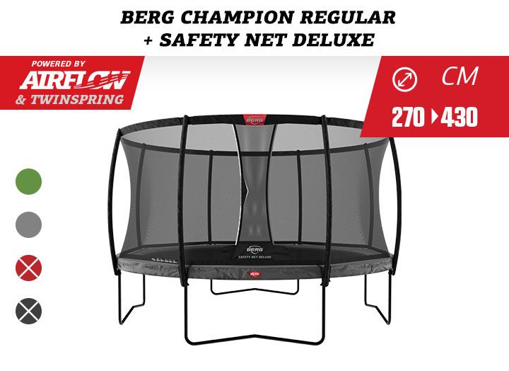 BERG Trampoline Regulair Champion + Safetynet Comfort / Deluxe 270-330-380-430