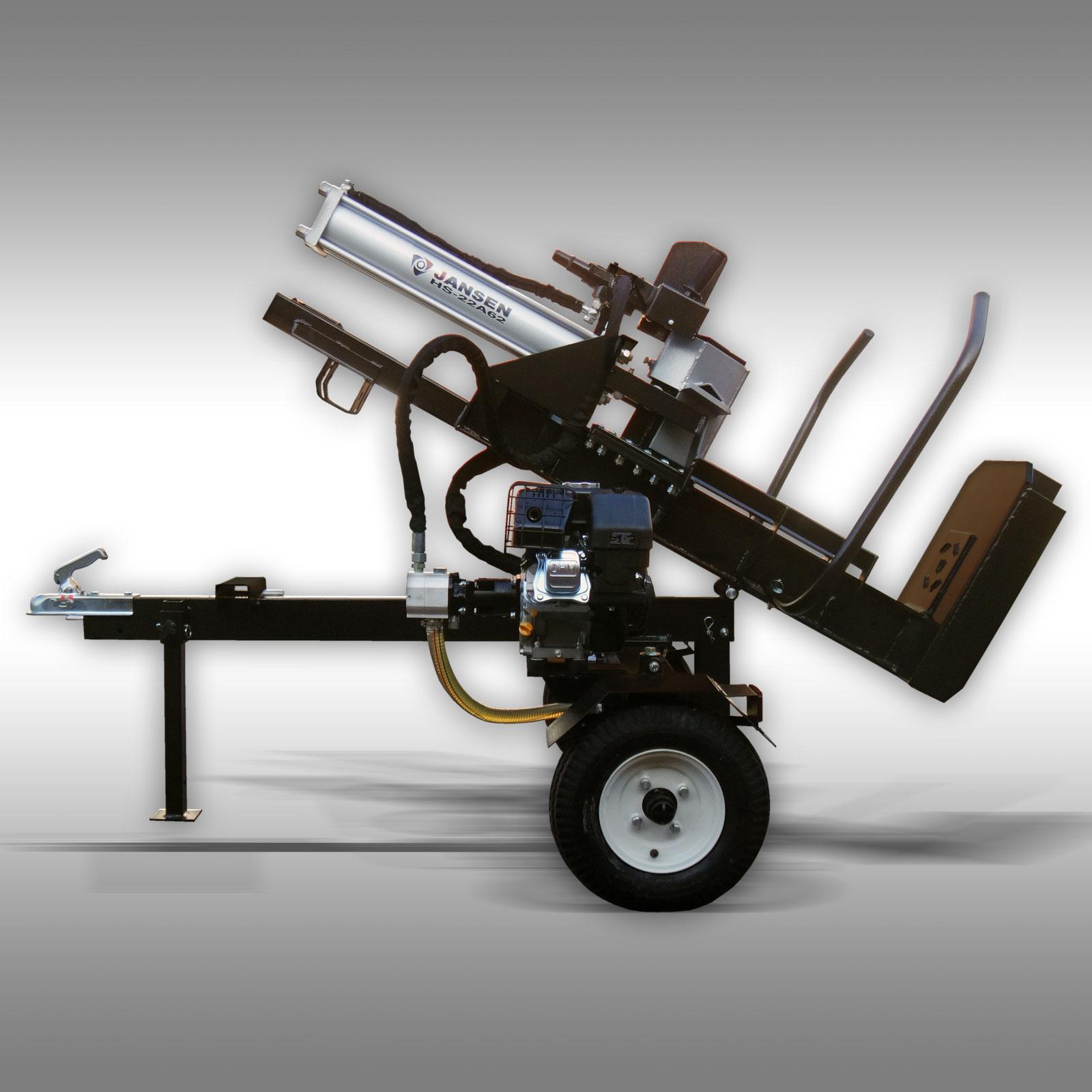 Jansen Houtklover HS-22A62, 22 t, 62 cm, benzine, staand+liggend, Kloofmachine
