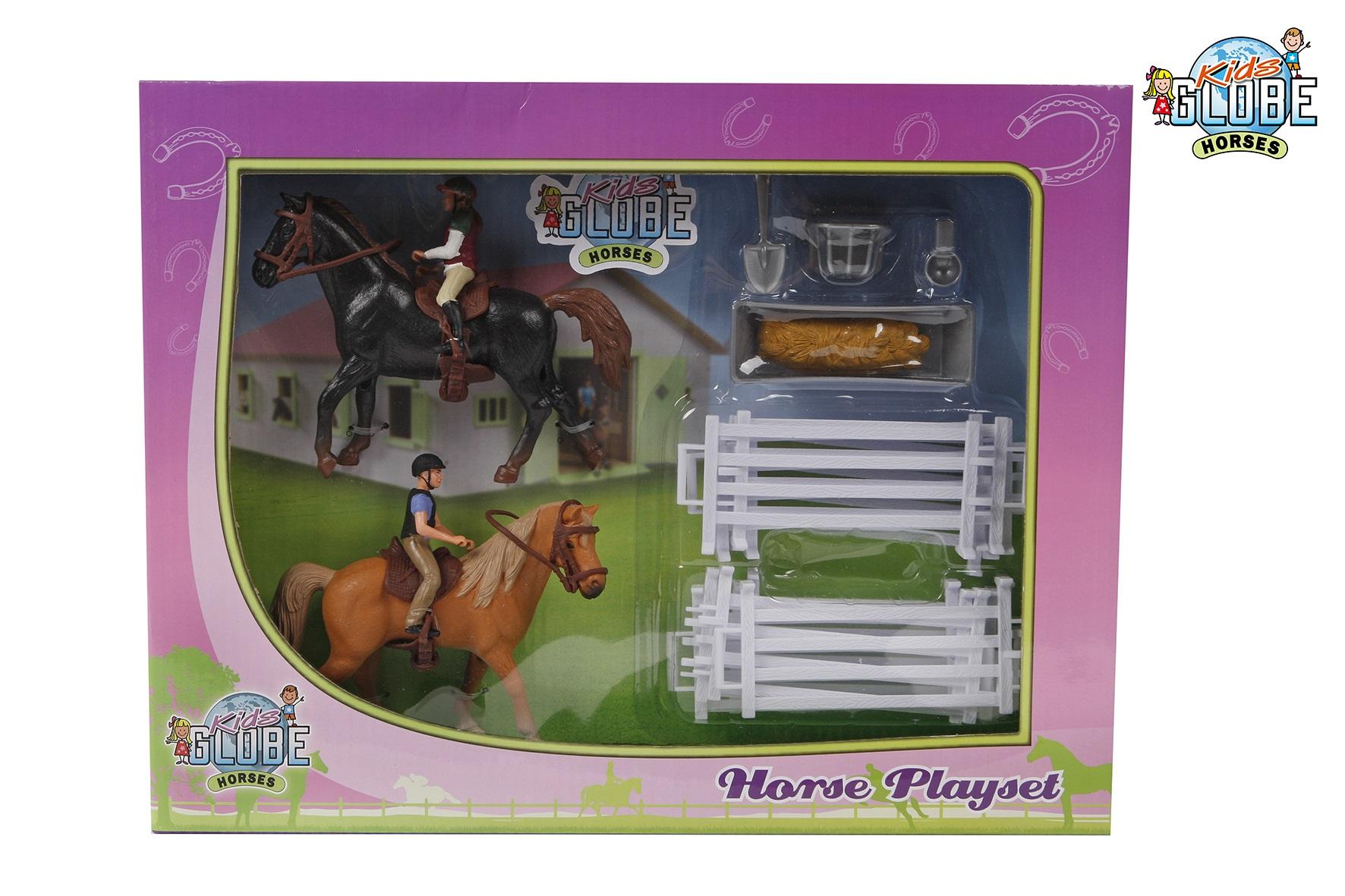 Kids Globe Speelset 2 paarden met ruiters en access.