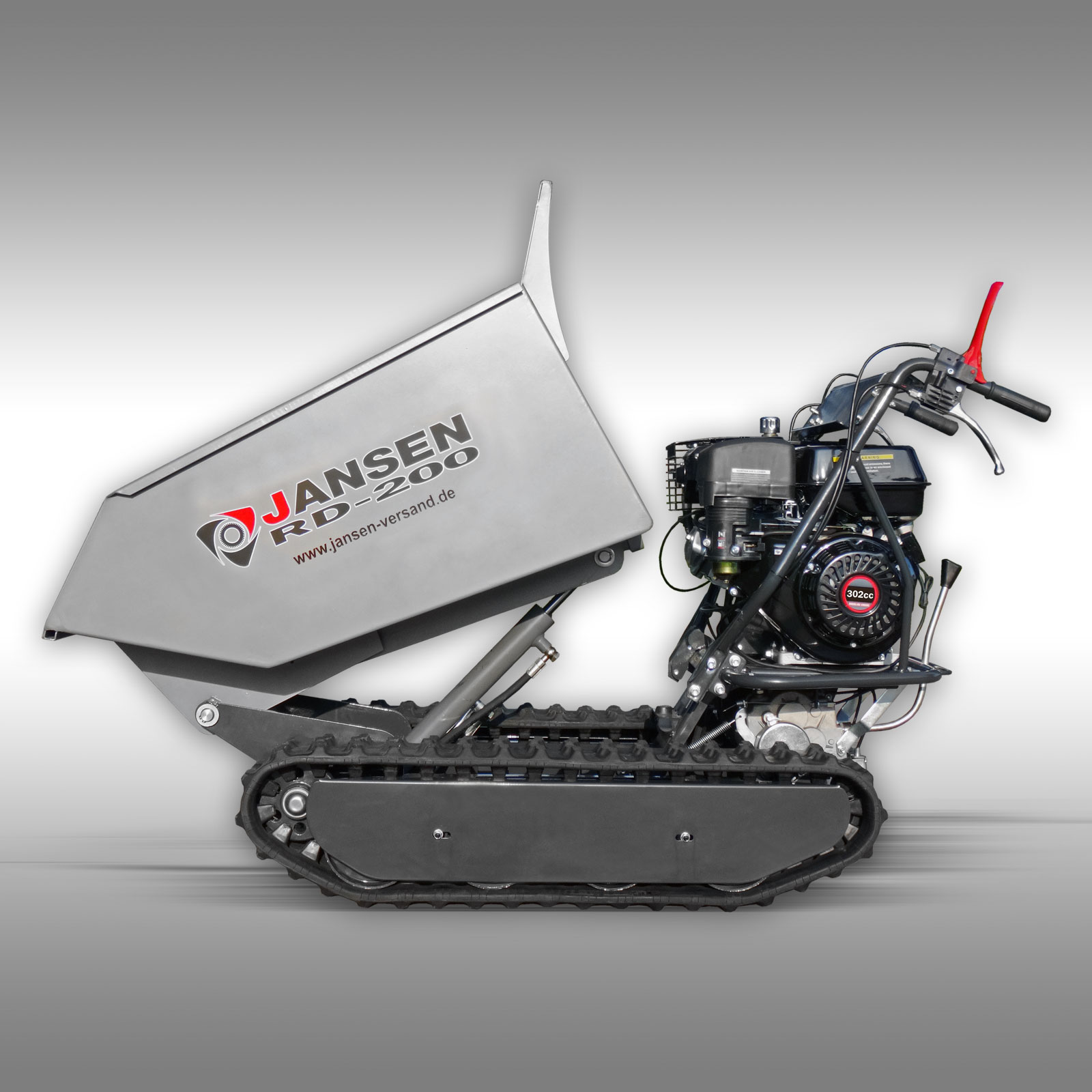 Jansen Rupsdumper RD-300, hydraulische kiepbak, 9PK benzinemotor