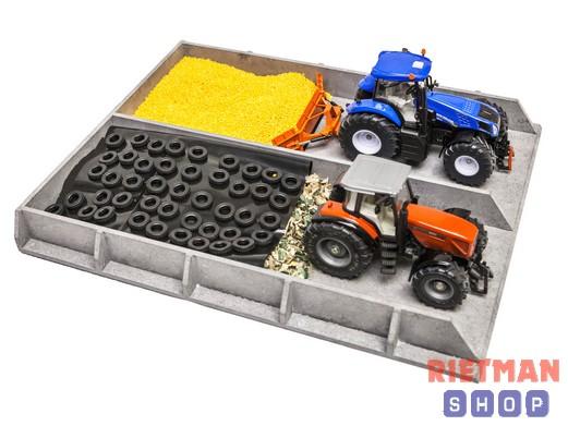 Sleufsilo hout, betonlook voor traktoren 1:32