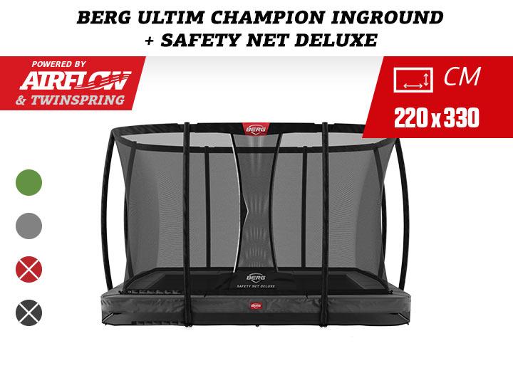 Berg Ultim Champion InGround Trampoline + Safetynet Deluxe 330