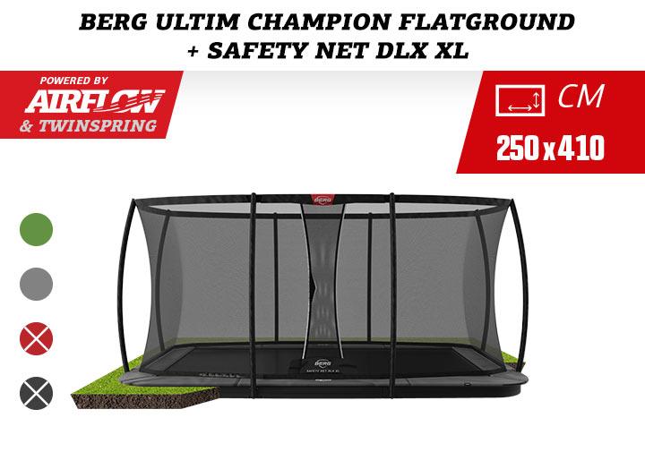 Berg Ultim Champion FlatGround Trampoline + Safetynet Deluxe 410