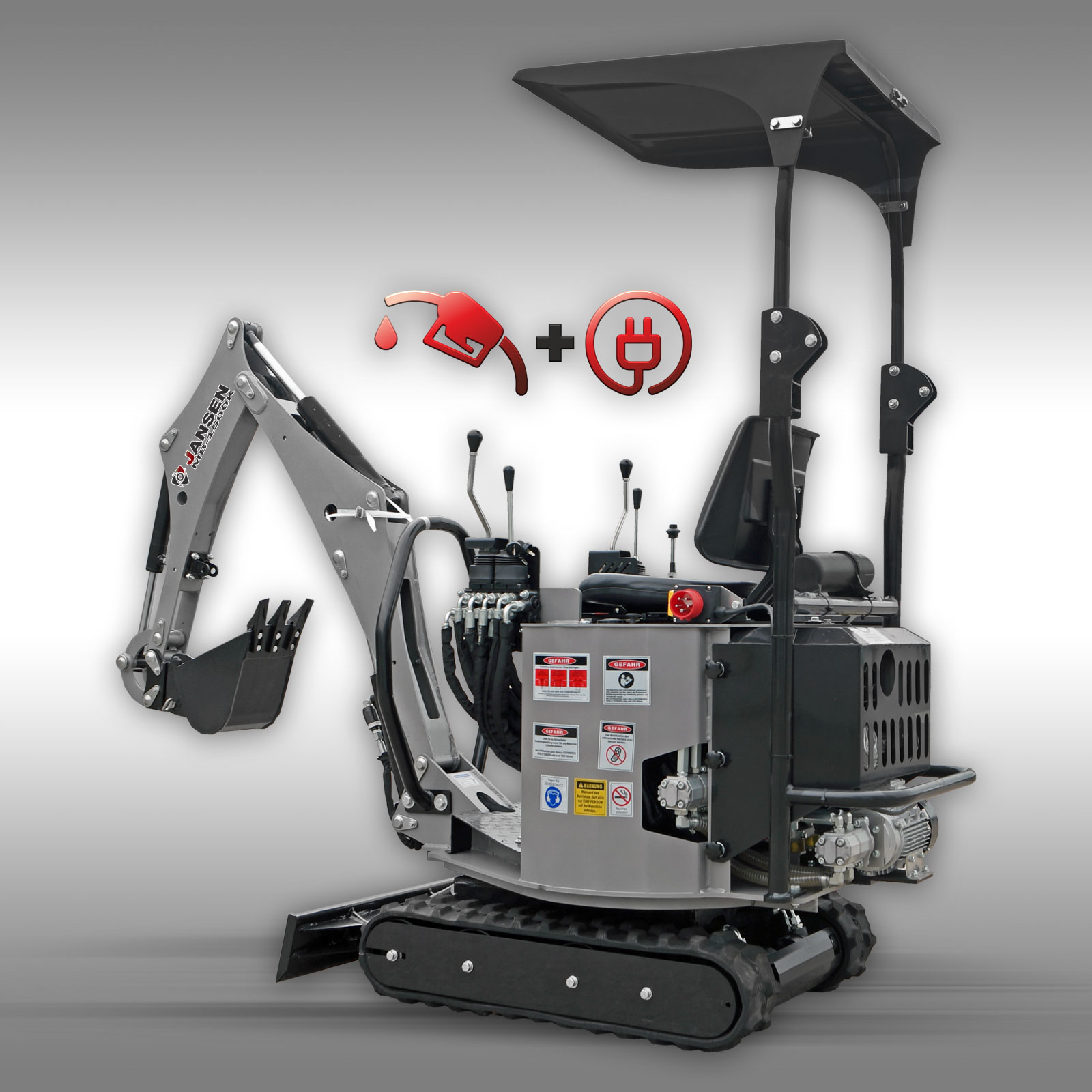 Jansen Minigraafmachine  MB-1500K, benzinemotor + elektromotor